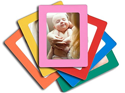 Lubber 6-Pack Magnetic Picture Frames for Refrigerator 4x6 inch Colorful Photo Note Schedule - Magnetic Frame Orange