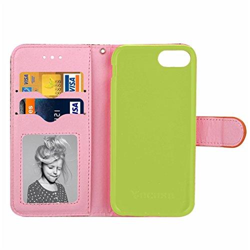 Trumpshop Smartphone Carcasa Funda Protección para Apple iPhone 7 Plus 5.5 (Serie Reminiscencia) + Oro + PU Cuero Caja Protector Billetera con Cierre magnético la Ranura la Tarjeta Azul