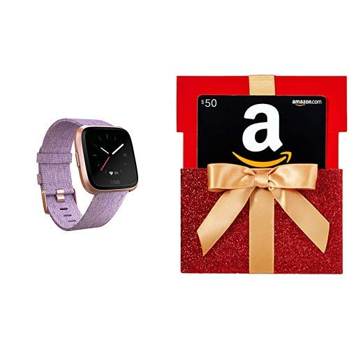 Fitbit Versa Special Edition Smart Watch, Lavender Woven, One Size (S & L Bands Included) with $50 Gift Card