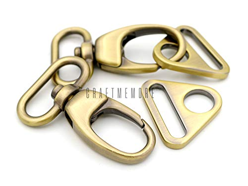 CRAFTMEmore CRAFTMEmore 2 Sets Fat Swivel Push Gate Snap Hooks Lobster Claw Clasp with Triangle Rings (1 Inch, Antique Brass (Bronze)) price tips cheap