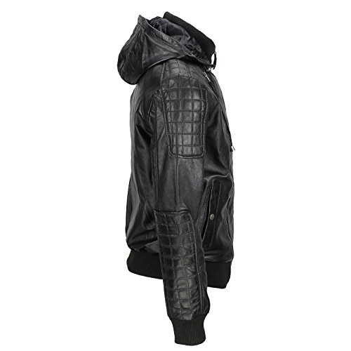 Black Hooded Jacket Genuine Bolmber amp;h Fj8 Cowhide F Men's Leather Retro 87XqnOzW