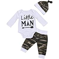 Arleysh 3Pcs Newborn Baby Boys Clothing Little Man Printed Camouflage Romper Tops+Long Pants+ Hat Outfits Set