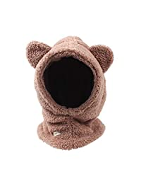 JANGANNSA Warm Velvet Baby Girls Hat Thick Winter Boys Scarf Hat Kids Earflap Hood Cap with Bear Ear