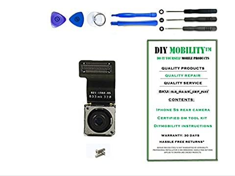 iPhone 5S Back 8MP Rear Camera with Flash Replacement Kit with DM Tools and Instructions Included - (High Megapixel Phone)
