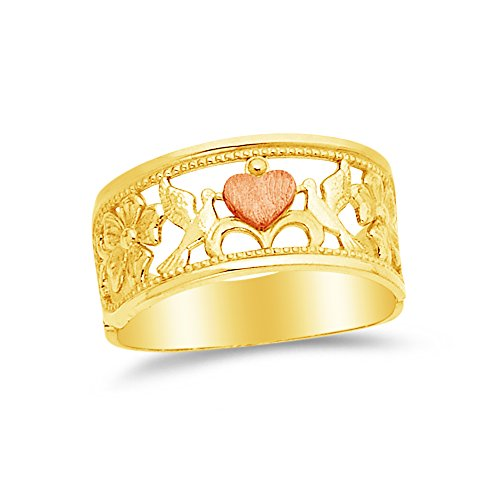 Size - 7 - 14k Rose Yellow & White Gold Fancy Fashion Dove Flower Heart Ring