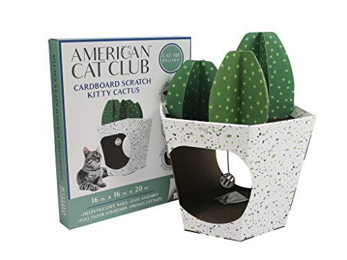 American Cat Club Cactus Cat House & Cat Scratcher w/ Bonus Catnip included