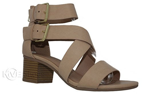 MVE Shoes Strappy Cutout Ankle Buckle Heeled Sandal, Blond PU Size 7.5