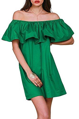 Cold Shoulder Ruffle Plain Shift Dress Ruffled Sundress Batwing Summer (Ruffled Shift)