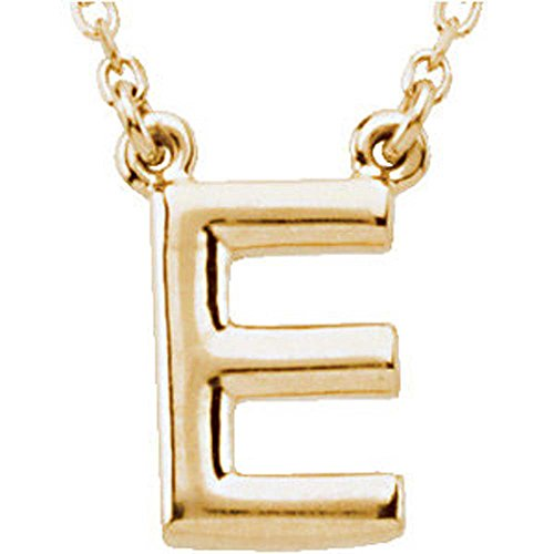 Block Initial Necklace (Letter 'E' on 16-Inch Chain) in 14K Yellow Gold