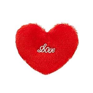 Toyvian Heart Shaped Plush Pillow Decorative Throw Pillow Sleeping Cushion (Red)