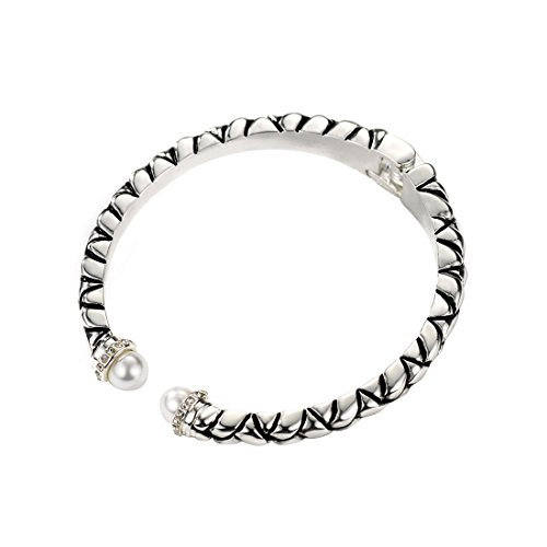 Neoglory Jewelry Antique Silver Color Basketweave Pattern with Pearl Crystal Bangles for Sensitive Skin
