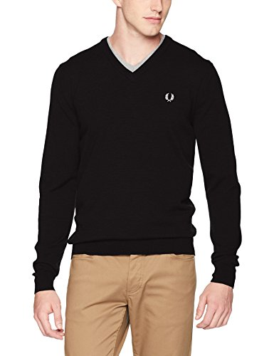 - Fred Perry Men's Classic V Neck Sweater, Black, Medium