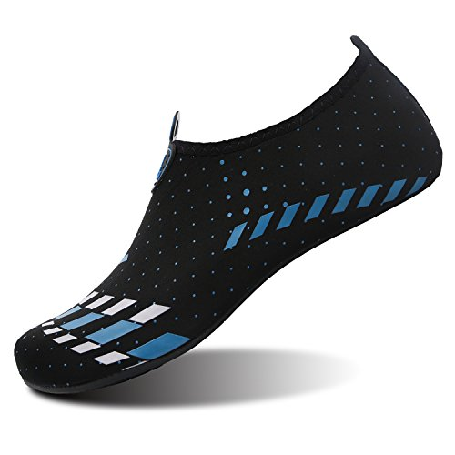 L-RUN Men and Women Water Shoes For Outdoor Activities Yoga Exercise Black Blue M(W:7-7.5,M:4.5-5)