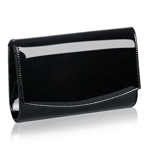 Women Patent Leather Wallets Fashion Clutch Purses,WALLYN'S Evening Bag Handbag Solid Color (Black) (Black Leather Evening Bag)