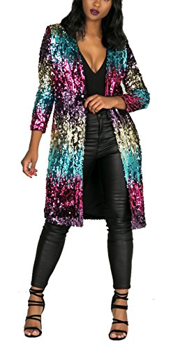 Women's Spring Fall Cover Up Long Sleeve Sparkling Sequins Long Loose Open Front Cardigan Coat Party Club Dress ()