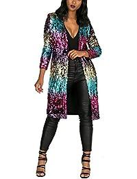 Women's Autumn Cover Up Long Sleeve Sequins Loose Open Front Cardigan Coat Dress