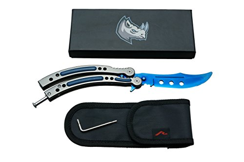 Rhingo CSGO Training Butterfly Knife Balisong Dull Unsharpened Blade (Sapphire Blue)