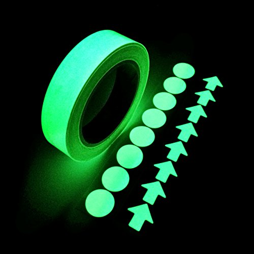 Glow in the Dark Self-adhesive Tape, Green Light Luminous Tape Sticker 20 Feet X 0.8 Inch Removable Waterproof Durable Wearable Stable Safety Fluorescent Emergency Roll -