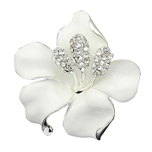(JewelryHouse Fancy Vintage Rose Flower Colourful Women Brooch Pin (White))