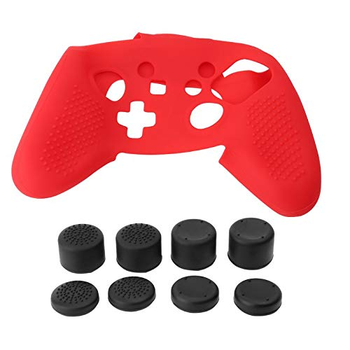 Skin Slicone - ICCQ Skin Compatible for Nintendo Switch Pro Controller, Including 8PCS Thumb Grips One Slicone Cover Skin (red)