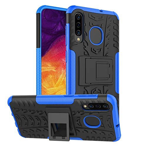 RioGree for Samsung Galaxy A50 Case, Galaxy A30 / Galaxy A20 Case with Kickstand for Men Women Heavy Duty Durable Phone Shockproof Cover Skin TPU, Blue (Cell Samsung Cases)