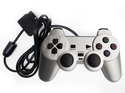 (Saloke Wired Gaming Controller for Ps2 Double Shock (Silver))