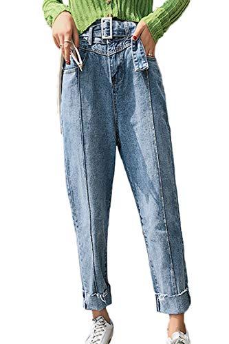 Pantalones Mujer La Denim Vaqueros De Alta Azul Cintura Suvotimo Casual Pantalones Loose 5XwfOZqRq