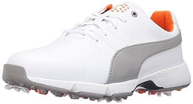 PUMA Golf Unisex-Kids Titantour Cleated Jr. Golf Shoe, White-Drizzle, 4 Medium Youth US Big Kid
