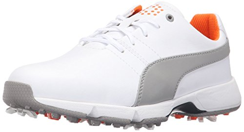 Cleated Shoes (Puma Golf Unisex-Kids Titantour Cleated Jr. Golf Shoe, Puma White-Drizzle, 7 Medium Youth US Big Kid)