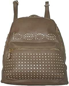 حقيبة ظهر جلد مع اكسسوارات - بني