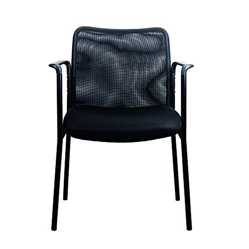 Guest Visitor Side Chair (Essentials by OFM ESS-8010-OFM Mesh Upholstered Stacking Guest/Reception Chair with Arms - Modern Stackable Office Chair (ESS-8010))