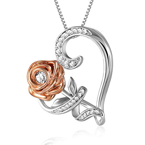 SNZM Love Heart Pendant Necklace 14K Gold Plated 5A Cubic Zirconia Rose Flower Necklaces Fashion Jewelry for Women, Anniversary Birthday Gifts for Her
