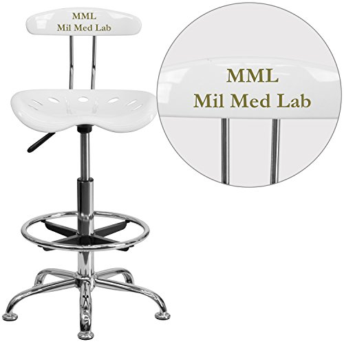 """Personalized Vibrant And Drafting Stool With Tractor Seat White/Chrome/20""""L x 17.25""""W x 41""""H"""