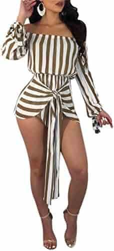 056655cc04b Molisry Women Causal Striped Crop Top Shorts Pants Bandage Jumpsuits 2  Piece Outfits