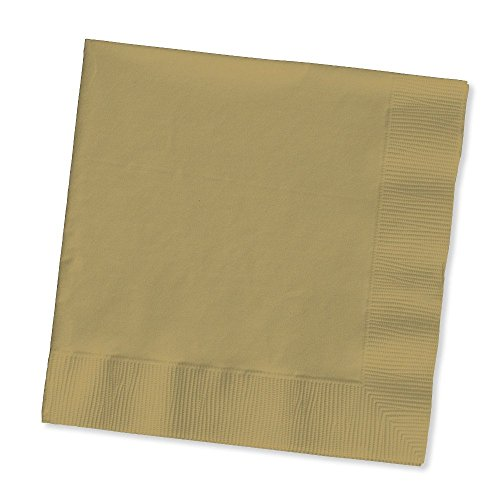 Creative Converting Touch of Color 2-Ply Paper Beverage Napkins, Glittering Gold (400 Count) by Creative Converting