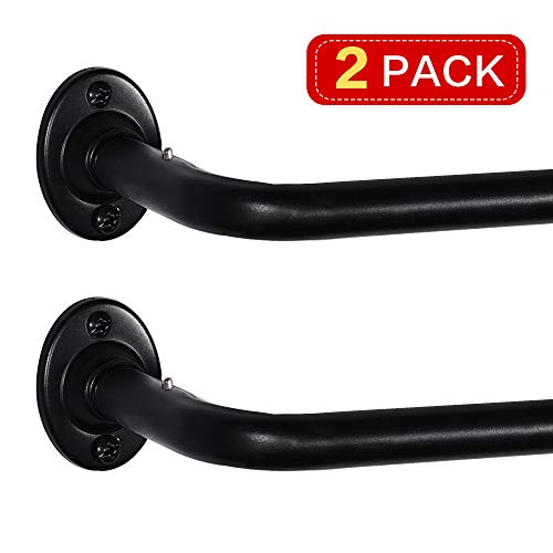 Turquoize Wraparound Curtain Rod Black Wrap Curtain Rod Set for Blackout Curtain Room Darkening Curtain Rod, Black, Adjustable from 48 Inches to 86 Inches, 2 Pack