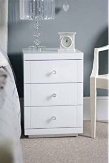 My furniture white glass bedside table 3 drawers white lucia my furniture 2 x white glass bedside tables white lucia watchthetrailerfo