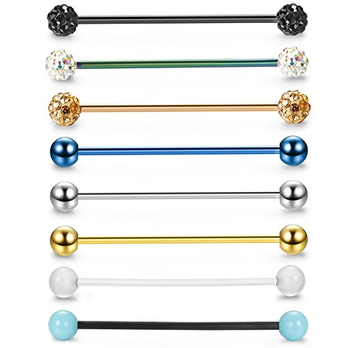 ORAZIO 8PCS 14G Stainless Steel Barbell Cartilage Earrings Body Piercing Jewelry 1 1/2 Inch(38mm) Assorted Colors (14g Body Jewelry)
