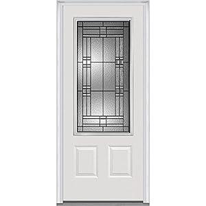 """National Door Company ZA21442L 3/4 Lite 2-Panel Roman Decorative Glass Steel, Primed 32""""x80"""" Left Hand In-swing Prehung Front Door"""