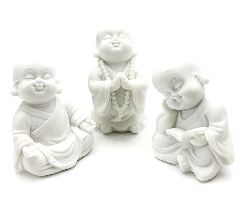 Monk Figurines (Joyful Monk Meditating Baby Buddha Laughing Sculptures, Set of 3 Religious Decorative Meditation Figurine)