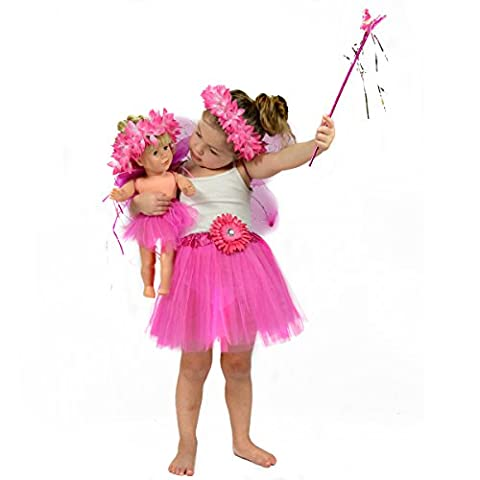 Princess / Fairy Dress Up Costume for Girls - Pretend Play Clothing Matching for Girls and 18 inch Dolls - Fits American Girls