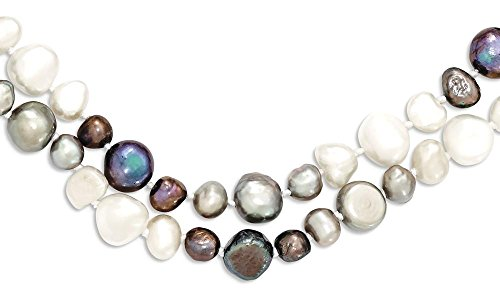Baroque Pearl Chain Necklace (ICE CARATS 5.5 9mm White/grey/black Baroque Freshwater Cultured Pearl Chain Necklace Fashion Jewelry Gift Valentine Day Set For Women Heart)