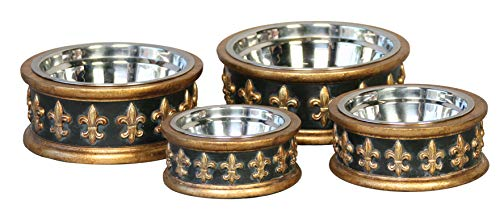 Unleashed Life Chartres Collection - Food and Water Bowl for Pets, Dogs and Cats Charcoal Fleur De Lis