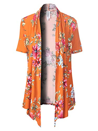 MixMatchy Women's [Made in USA] Solid Jersey Knit Short Sleeve Open Front Draped Cardigan (S-3XL) B Orange Flower Print L