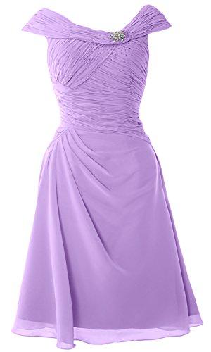 MACloth Women Short Lace Chiffon Bridesmaid Dress Cocktail Party Formal Gown (EU36, Lavanda)