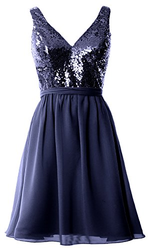 MACloth Women Straps V Neck Sequin Short Bridesmaid Dress 2017 Formal Party Gown Azul Marino Oscuro