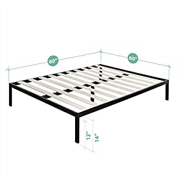 Zinus Modern Studio 14 Inch Platform 1500 Metal Bed Frame / Mattress Foundation / no Boxspring needed / Wooden Slat Support, Black, Queen