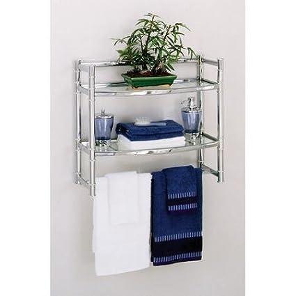 Amazon.com: Zenith Wall Shelf with 2 Glass Shelves, Chrome Finish ...