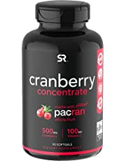 Cranberry Whole Fruit Concentrate (Triple Strength) equivalent to 12500mg of Fresh Cranberries. Made with clinically Proven Pacran & packed with Antioxidants. Non-Gmo & Gluten Free, 90 Softgels