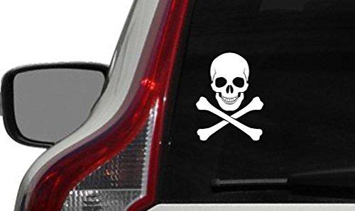 Skull Crossbone Version 1 Car Vinyl Sticker Decal Bumper Sticker for Auto Cars Trucks Walls Windows and More (WHITE)